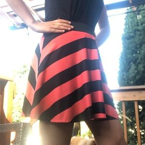 Coral and black striped circle skirt